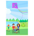 young couple sitting on wooden bench in park vector image