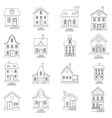 House set in outline style vector image