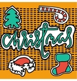 Set of christmas stickers on yellow background vector image