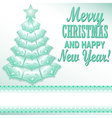 green Christmas tree festive paper style vector image