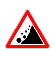 road sign warning avalanche rockfall landslides vector image
