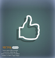 Like icon symbol on the blue-green abstract vector image