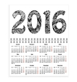 Spiral calendar with hand-drawn 2016 as cover vector image