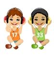 teenager boys listening music with headphones vector image