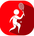 Tennis icon on red background vector image