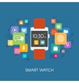 Smart watch with application icons vector image vector image