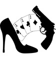 cards pistol and womens shoe vector image