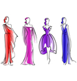 Modern fashion models of beautiful dresses vector image