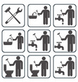 plumbing work symbol icons set vector image