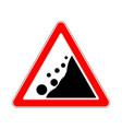 road sign warning avalanche rockfall landslides vector image