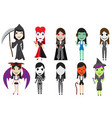 set of halloween cosplay party by cute girl vector image