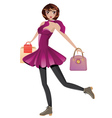 Shopping Girl with Bags vector image