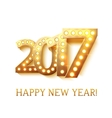 2017 new year symbol with light bulbs vector image