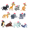 Funny Christmas animals vector image