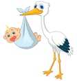 Stork carying baby cartoon vector image