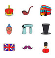 united kingdom icons set cartoon style vector image