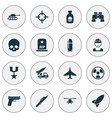 battle icons set collection of missile military vector image