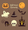Halloween elements on brown background vector image