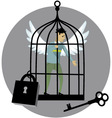 Locked in a cage vector image
