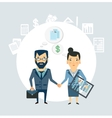 Accountant shakes hands with partner companies vector image vector image