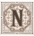 letter N with leaves and frame vector image