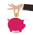 Business Hand With Piggy Bank and Coin vector image