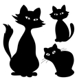 cats silhouette set vector image