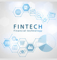 financial technology icons with hexagon background vector image
