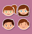 group litlle kids faces smiling expression vector image