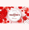 happy valentines day festive card beautiful vector image