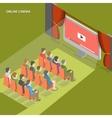 Online cinema flat isometric concept vector image