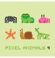 Pixel art style animals cartoon set 4 vector image