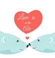 polar bears couple hearts love valentines day card vector image