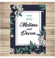 save the date vintage white flowers dark green flo vector image