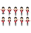 set of business woman characters in movement vector image