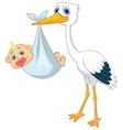 Stork carying baby cartoon vector image