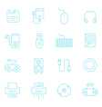 Thin lines icon set - devices accessory vector image