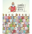 Thumbs Up Man and People Crowd Seamless Colorful vector image