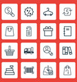 set of 16 commerce icons includes refund peg vector image