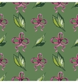 Watercolor seamless pattern with leaves and red vector image