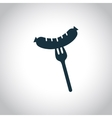 Sausage on a fork icon vector image