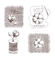 Hand drawn cotton certigicates labels vector image