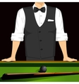 man leaning on a pool table vector image