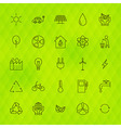 Ecology Environment Line Icons Set over Polygonal vector image