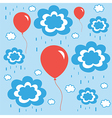 beautiful background with balloons clouds and rain vector image