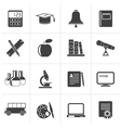 Black Education and school objects icons vector image