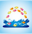 fish in water design vector image