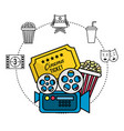 movie camera with ticket and popcorn vector image