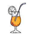 Tropical cocktail drawing icon vector image