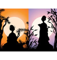 Japanese cards geisha silhouettes at sunset vector image vector image